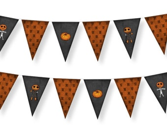 DIGITAL Halloween bunting-Instant download-print your own bunting-halloween favors-decoration