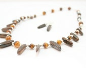 Tigers Eye Necklace- Tribal Necklace- Collar Necklace- Wire Wrapped- Necklace Earring Set-