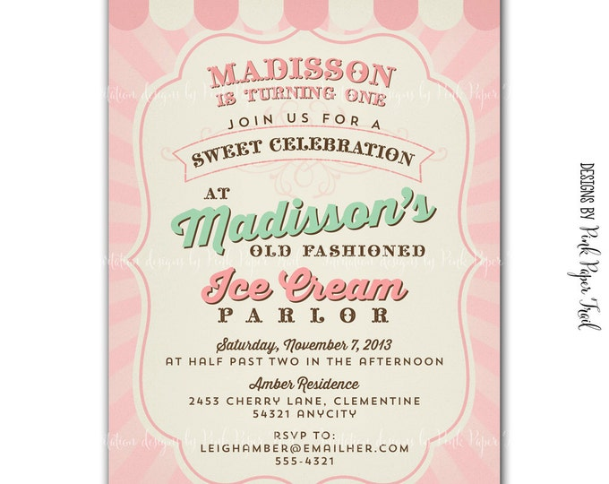 Vintage Ice Cream Parlor Invitation, Ice Cream Party v.2- Customizable, Print your own