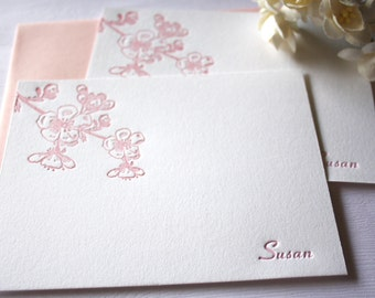 Cherry Blossoms Personalized Letterpress Stationery Pink