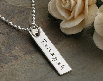 Personalized Single Rectangle Tag Necklace - Hand Stamped Mommy Jewelry