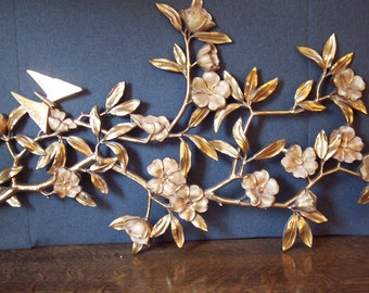 Vintage 1962 Syroco Gold Dogwood Wall Plaque