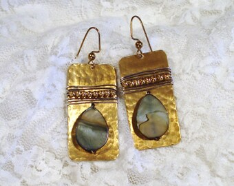 Brass and Mother of Pearl Earrings Free US Shipping
