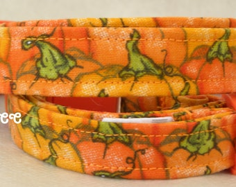 Dog Collar Pumpkins and Green Vines Adjustable Collars w D Ring Choose Size Pet Pets Everyday Fun Accessory Accessories Halloween Fall Fun