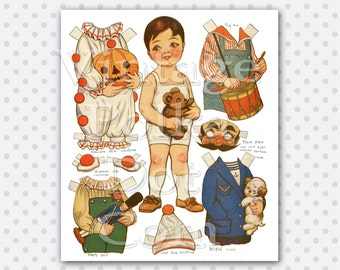 Vintage Paperdoll Dolly Dingle's Friend with Outfits Costumes Boy Printable Graphic Instant Download Doll with Toys Jack O  Lantern