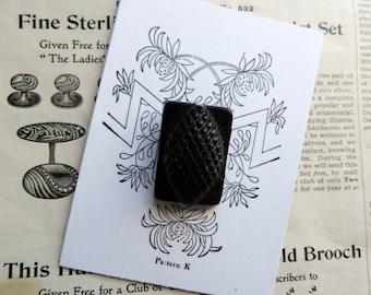 Antique Celluloid Button Black Diamond Design Free Shipping Sewing Supplies Button Card