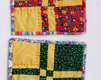 2 Patchwork Potholders - Butter Yellow & Handquilted