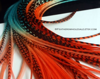 Boho Accessories Hair Feathers Orange Teal Wholesale Feather Extensions Two Toned Dip Dyed Rooster Hair Extensions Gift for Stylist, 25PCS