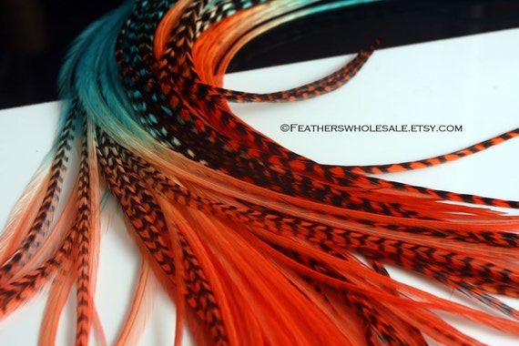 Hair Art Color Blocked Orange Teal Turquoise Feather Extension Hair Accessories Orange Turquoise Feathers for Hair Wholesale, 25 Pack