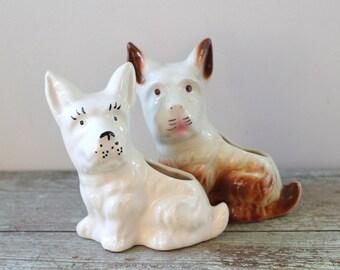 Vintage Pair of Terrier Planters