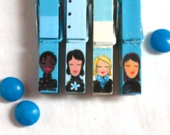 WOMEN FACES CLOTHESPINS hand painted magnets blue