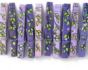 PURPLE PAINTED CLOTHESPINS Spring branches magnetic