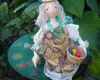 Garden Angel Art Doll Assemblage for Easter