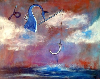 Dragon Art Print, Moon Fishing Whimsical Kids Wall Art Nursery Decor, Fairy Tale Storybook Children's Art, Andrea Doss