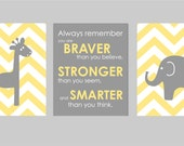 "Yellow and Grey Nursery Elephant Nursery Prints Always Remember You are Braver Winnie The Pooh Quote Giraffe Nursery - Set of three 8""x10""s"