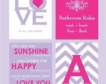 Kids Bathroom Art, Kids Bathroom Decor, Bathroom Rules, Girls Bathroom Wall Decor, You Are My Sunshine Monogram Prints - You Choose Colors