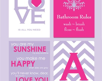 Kids Bathroom Art, Kids Bathroom Decor, Bathroom Rules, Girls Bathroom Wall Decor, You Are My Sunshine Monogram Prints - You Choose Colors