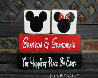Mother's & father's day blocks-Mickey and Minnie--Grandpa and Grandma's the happiest place on earth