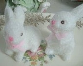 2 FLOCKED white bunnies PAIR 2 in rabbit mini vintage easter spring