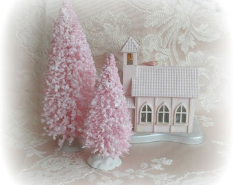 "2 flocked  PINK bottle brush trees 5.5"" and 4"" vintage style sparkled"