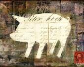 Pig Print: Rustic Farm Pig Print, French Farmhouse Pig, Pig Silhouette, Mixed Media, 5x7 (127x178mm), 8x10 (203x254mm) or 11x14 (279x356mm)