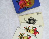 Kitsch Purple Owl Playing Card Deck   /   Vintage Deck of Playing Cards  /  1970s SWAP Playing Cards Deck  SwirlingOrange Owls