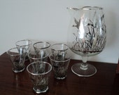 vintage Sterling overlay DUCK silver city crystal  pitcher with glasses