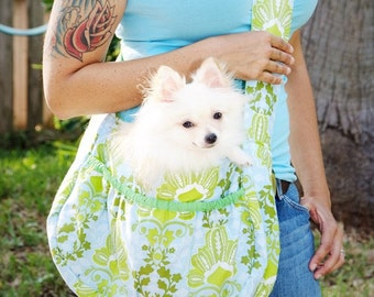 Dog Carry Bag with Retro Floral/ free shipping /Christmas gift / Pet Dog Carrier Fleece / Dog travel pet bag / puppy carrier