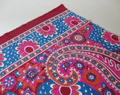 Outstanding mid century vintage border print shiny slinky polyester fabric magenta turquoise pink cerise paisley 3 yards available