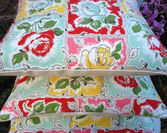 """ROSES Vintage 1950s Barkcloth Fabric Accent Pillow Cushion Cover Only 12"""" Botanical Midcentury"""
