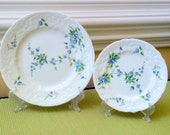 Coalport Salad or Bread and Butter Plate Tintern Blue Roses Fine Bone China Collectable Replacements Made in England