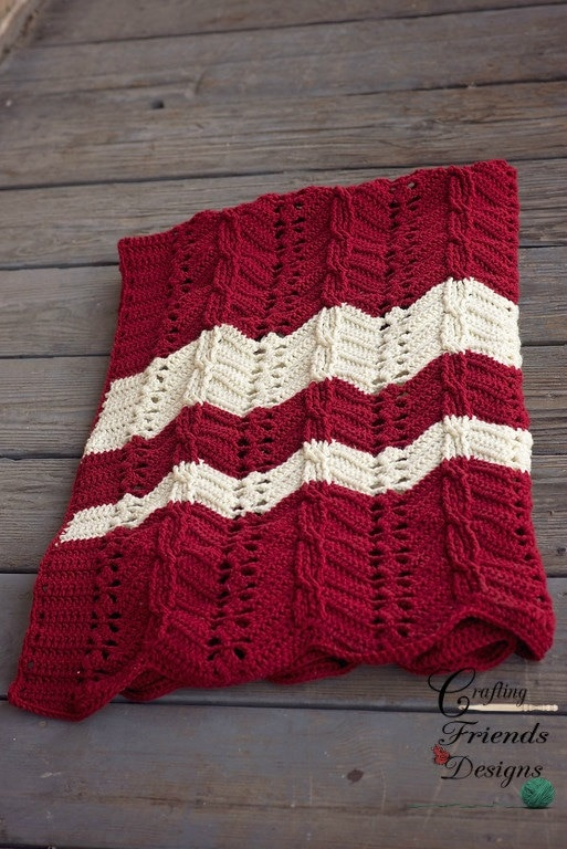 Crochet Pattern, Classic Cable Chevron Afghan Textured ...