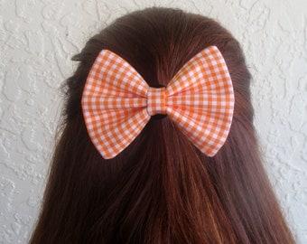 Orange Gingham Hair Bow Gingham Hair Clip Girly Girl Teen Woman Alligator Clip, French Barrette