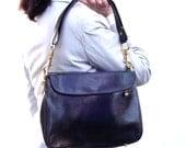Vintage Black Bag, Black Handbag, Faux Leather Purse, Womens Large Designer Handbag with Adjustable Strap