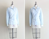 Womens Vintage Work Shirt . Powder Blue Button Down Shirt . size Large