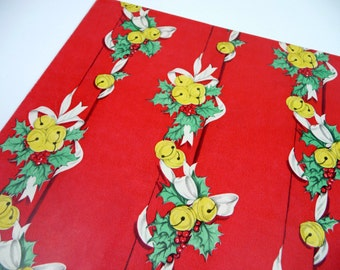 Vintage Christmas Gift Wrap Jingle Bells Red Full Sheet for Mid Century Wrapping Paper Retro Holiday Crafts