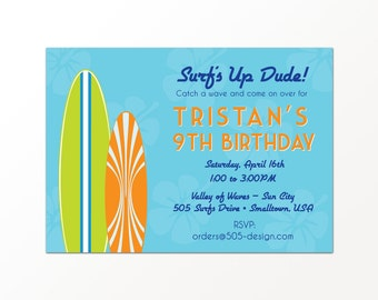 Surfing Invitation - Printed or Printable Surfs Up Invitation by 505 Design, Inc
