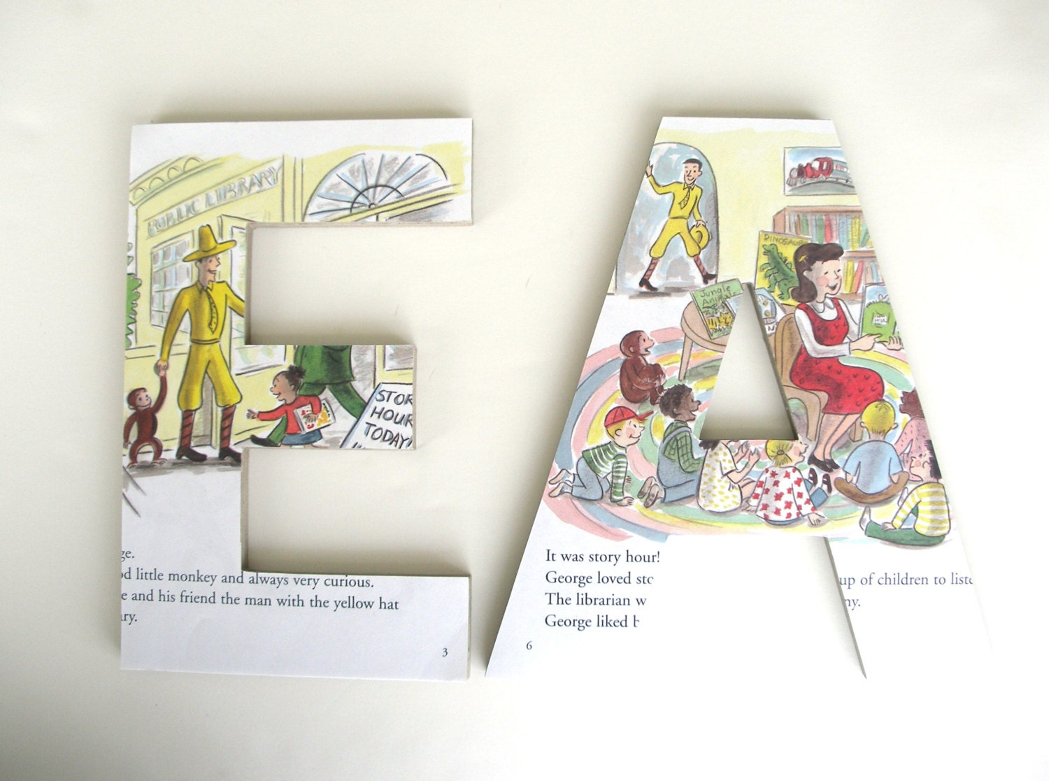 Curious George Custom Wood Letters Children 39 S Book