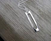 Silver Necklace- Long Rectangular Pendant