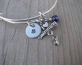 """Swimming Bracelet-""""I heart swimming"""" charm, initial of your choice, and an accent bead of your choice"""