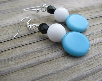 Blue, White, and Black Glass Beaded Earrings