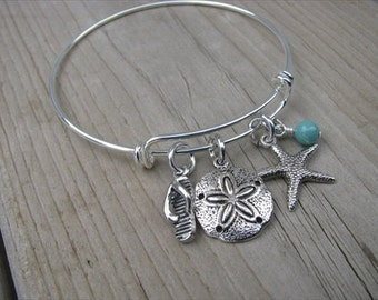 Beach Bangle Bracelet- Adjustable Bangle Bracelet with flip flop charm, sand dollar charm, starfish charm, and an accent bead of your choice