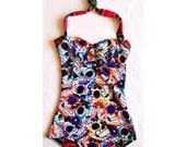 One Piece Swimsuit Sugar Skull and Plaid XS-XXL Other Prints Available
