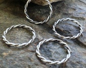 Sterling Silver Jump Rings 4  Pcs Double Twisted Oxidized - 15.2mm  L41