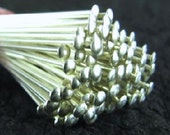 Bulk SALE - 15% off 25 Sterling Silver 20 Gauge Thick - 2 Inch Long - Flat Head - 50mm (2 Inches) - 25 Head Pins HP16a