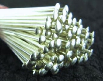 10 Sterling Silver 20 Gauge Thick - Head Pins - 2 Inch Long - Flat Head - 50mm (2 Inches) HP16
