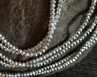 Fine Silver Spacer Beads - Small Bicone Beads  2.5mm x 2.5mm - Karen Hill Tribe 100 Pc - MB240