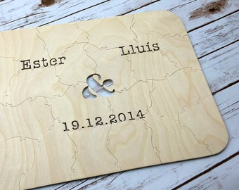 20 pc Custom Wedding Guest Book Puzzle, guestbook alternative, wedding AMPERSAND puzzle guest book, Bella Puzzles™ rustic bohemian wedding