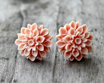Peach Mum Earrings with Hypoallergenic Titanium Posts