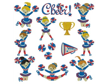 CHEERLEADERS - Machine Filled Embroidery - Patterns - Instant Digital Download